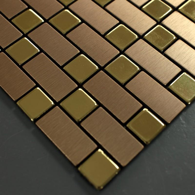 Brushed Stainless Steel Backsplash: Metallic Mosaic Tile Backsplash Strip Brushed Gold
