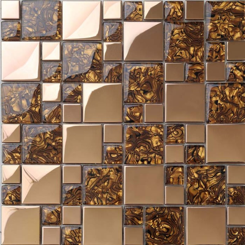 Sample Beige Cream Hand Painted Glass Pattern Mosaic Tile: Gold Stainless Steel Wall Tile With Porcelain Base Metal