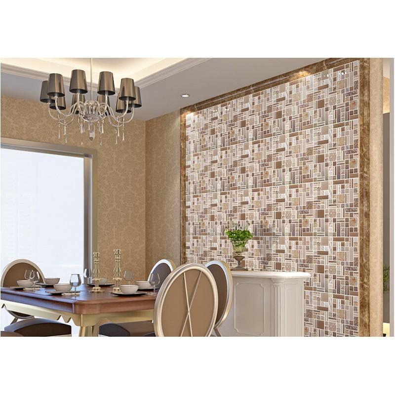Crystal glass mosaic tile backsplash metal tiles wall - Decorative wall tiles for kitchen backsplash ...