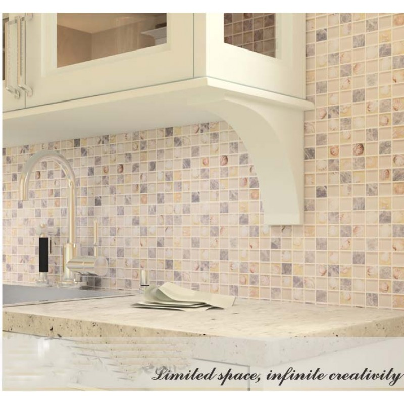 Grey Stone With Crystal Shell Mosaic Tile Sheet Square Backsplash Of Wall Stickers Bedroom Kitchen