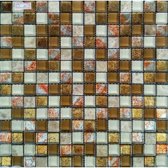 "Clear Glass Mosaic Wall Tiles Kitchen Backsplash 4/5"" Natural Stone Flooring For Kitchens"