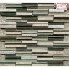 Frosted Glass Tile Backsplash Random Brick Stone Wall Design Decorative Metal Tiles