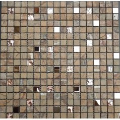 "Stone Wall Mosaic Glass Metal Kitchen Backsplash Tiles 3/5"" Small Tile Squares Bathroom"