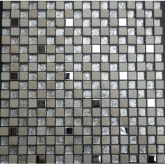 "Stone Wall Mosaic Glass Metal Kitchen Backsplash Tiles 3/5"" Small Tile Squares Mirror"