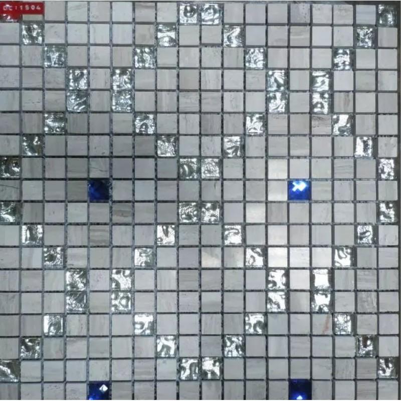 Grey Stone Blue Diamond Crystal Tile Backsplash Glass Mosaic Murals Wall