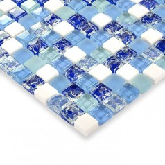 Blue glass mosaic tile ceram marble stone mosaic crackle glass mosaic wall tile kitchen backsplash HM0004
