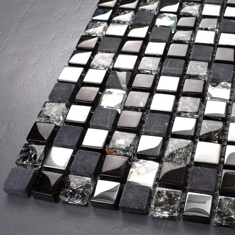 Black Glass Mosaic Diamond Gray Marble Wall Tiles Plated Silver Blue Crystal Backsplash