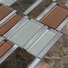 Stone and Glass Tile Silver Aluminum Metal Wall Tiles Emperador Dark Marble Tile Backsplash Bathroom Tiles MG009