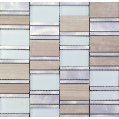 Stone and Glass Tile Brushed Aluminum Silver Metal Wall Tiles Hand Painted Marble Tile Backsplash MG011