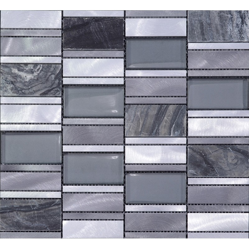 Glass Marble Backsplash: Stone And Glass Mosaic Sheets Brushed Aluminum Metal Wall