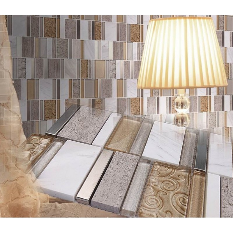 Stone And Glass Mosaic Sheets Stainless Steel Backsplash
