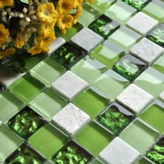 Stone and Glass Mosaic Tiles Square Green Bathroom Glass Wall Marble Tile Backsplash Kitchen Tiles KQLZ02