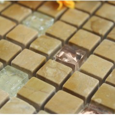 Stone and Glass Tiles Square Beige Bathroom Wall Crackle Crystal Mosaic Marble Kitchen Backsplash Floor Tile SGS2013-2