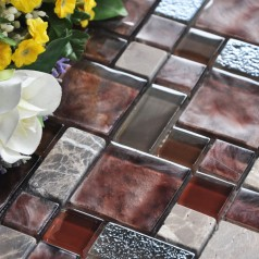 Stone and Glass Mosaic Tile Square Brown Pattern Washroom Wall Marble Backsplash Floor Tiles VA001