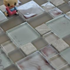 Gray Stone and Glass Mosaic Tile Square Wall Marble Tile Backsplash Kitchen Tiles VA004