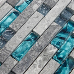 Gray Marble Backsplash Tile Teal Blue Glass Mosaic Interlocking Pattern for Kitchen and Bathroom