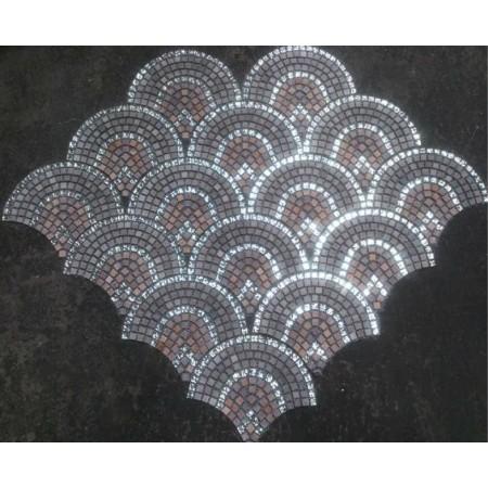 Mosaic Stone Wall Mural Fish Scale Clear Glass Crystal Backsplash Bathroom Designs