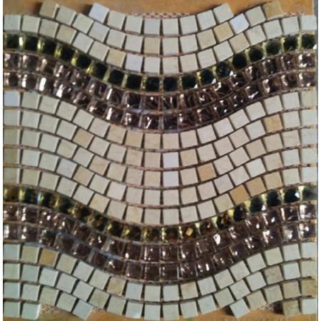 Mosaic Stone Wall Mural Wave Clear Glass Crystal Backsplash Bathroom Designs