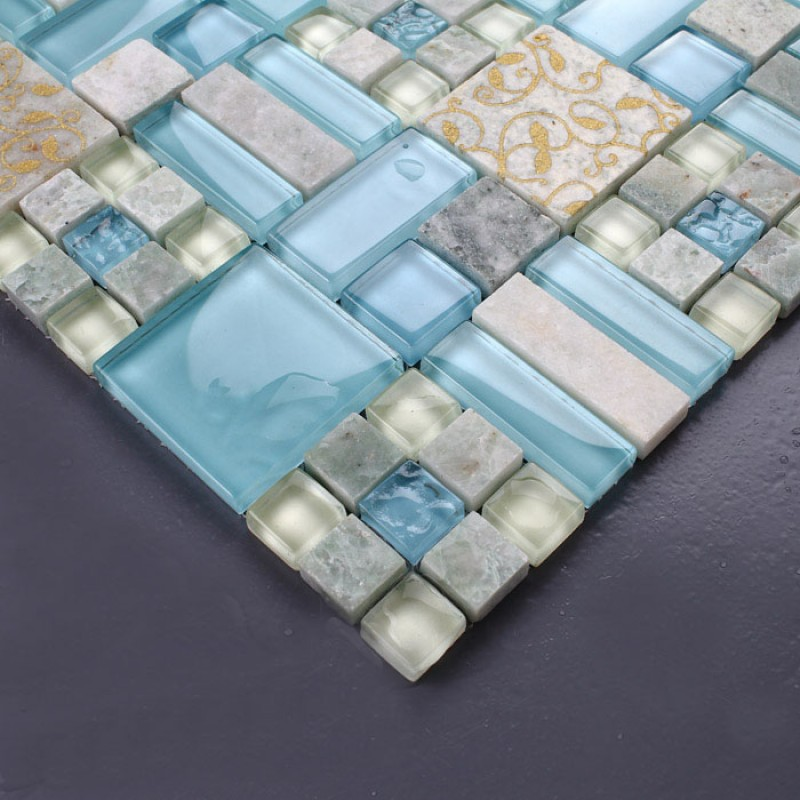 Tiles Kitchen Blue Glass & Stone Blend Mosaic Natural Marble ...