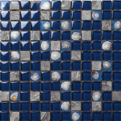 Dark Blue Glass Mosaic Glossy Tile Resin Shell Gray Stone Backsplash Bathroom Wall Tiles