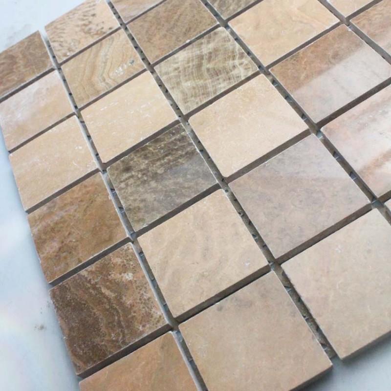 Natural Stone Mosaic Tile Square Brown Patterns Bathroom Wall Marble Kitchen Backsplash Floor Tiles Sgs66 48a