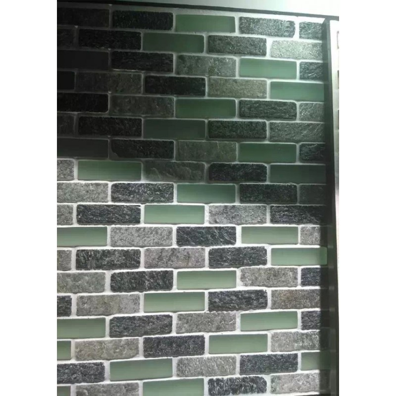 stone mosaic frosted glass subway