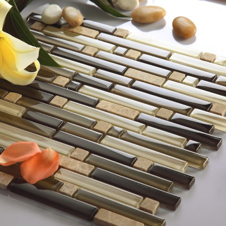 Natural Stone and Glass Mosaic Tile Sheets Interlocking Marble Tile Backsplash Strip Wall Tiles 606