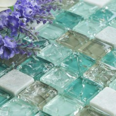 Cream Stone with Crackle Crystal Mosaic Tile Sheet Square Blue Backsplash of  Wall Stickers Bedroom