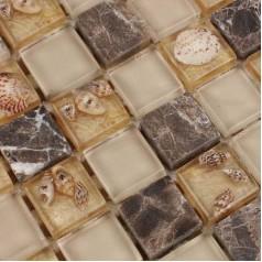 Light Gold Glass Mosaic Backsplash Resin Conch Shell Wall Tile Dark Emperador Marble Bathroom Tiles