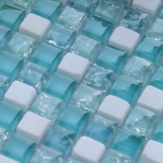 Cream Stone Crackle Crystal Tile Backsplash Blue Glass Mosaic Wall Cracked Shower Floor Tile