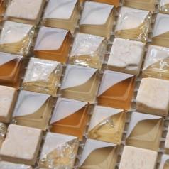 Cream Stone Mosaic Tile Sheet Square Brown Crystal Backsplash Crackle Mosaic Glass Tile Wall Sticker