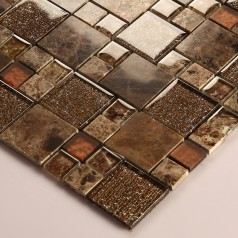Stone and Glass Mosaic Sheets Square Tiles Emperador Dark Marble Tile Backsplash Bathroom Wall Tile 632