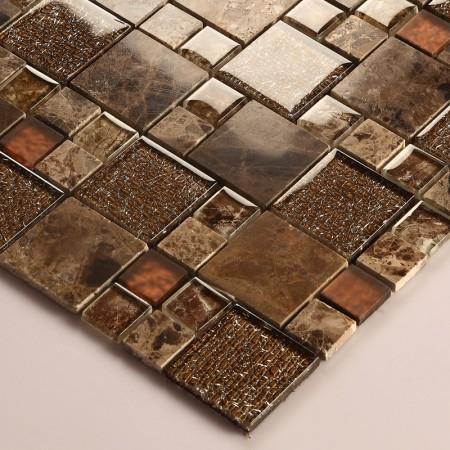 Stone and Glass Mosaic Sheets Square Tiles Emperador Dark Marble Tile Backsplash Bathroom Wall Tile 632