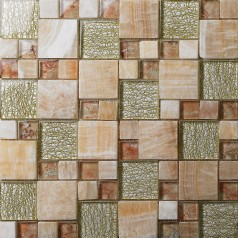 Stone and Glass Mosaic Sheets Square Tiles Natural Marble Tile Backsplash Bathroom Wall Tiles 637