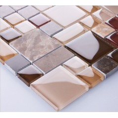 Stone and Glass Mosaic Tile Square Tiles Natural Marble Tile Backsplash Bathroom Wall Tiles 9458