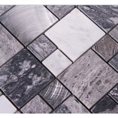 Stone Mosaic Tile Square Grey Marble Floor Tiles Metal and Stone Mosaic Kitchen Backsplash Brushed Aluminum Tile 9481