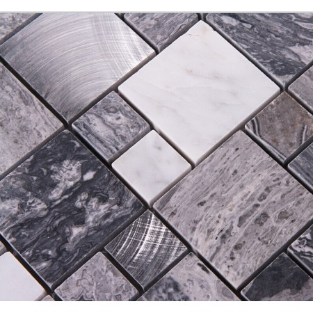 Stone Mosaic Tile Square Grey Marble Floor Tiles Metal and Stone Mosaic Kitchen Backsplash Brushed Aluminum Tile 9481