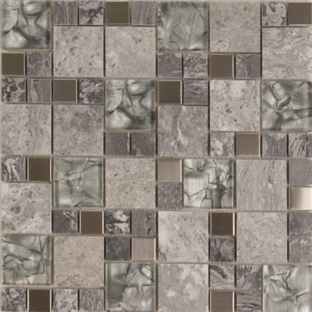 Stone And Glass Mosaic Natural Marble Tile Backsplash