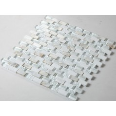Cream Stone and Glass Mosaic Tile Subway Tile with Shell Backsplash Wall Mosaics Mother of Pearl Floor Tiles GC001