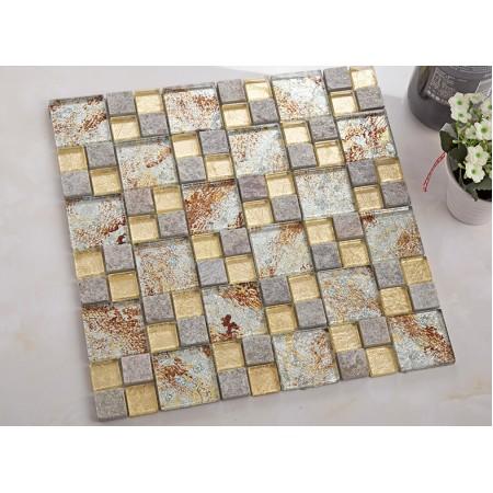 natural stone mosaic tile crystal glass & marble tile bathroom tile flooring kitchen backsplash tiles KLGTM69