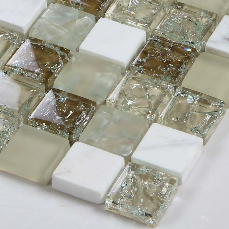 Sample Green Brown Crackle Glass Subway Mosaic Tile: Cream Stone And Glass Mosaic Sheets Kitchen Backsplash
