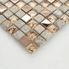Natural Stone and Glass Mosaic Sheets Stainless Steel Backsplash Square Tiles Metal Tile Backsplash Wall Kitchen OX022