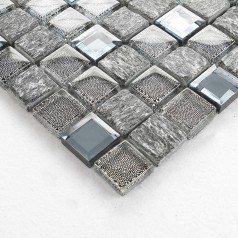 Stone and Glass Tile Backsplash Cheap Square Tiles Natural Marble Tiles Mosaic Mirror Wall Decor OX031