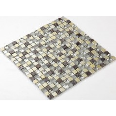 Stone Glass Mosaic Tile Ice-Crack Glass With Marble Backsplash Wall Stickers Floor Tiles RGS002