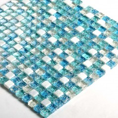 Ceram Stone and Glass Mosaic Tile Ice-Crack Glass Blue Backsplash Wall Stickers Floor Tiles S321