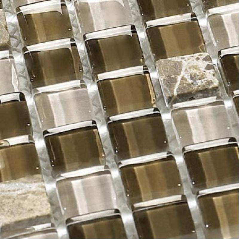 Stone and glass mosaic tiles brown square tiles natural marble tile backsplash wall decor sb171 Stone backsplash tile