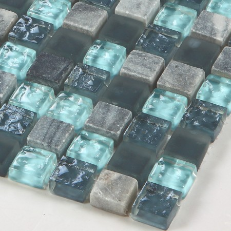 Stone and Glass Mosaic Sheets Blue Square Tiles Natural Marble Tile Backsplash Wall Kitchen Tile SB305