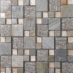 Glass and Stone Mosaic Tiles Mixed Gray, Rose Gold & Silver, Matte and Glossy Crystal Backsplash Tile