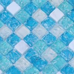 Stone Glass Mosaic Tiles Blue Ice Crack Crystal Backsplash Tile Cream Marble Mosaics Blue Glass Tiles SDY001