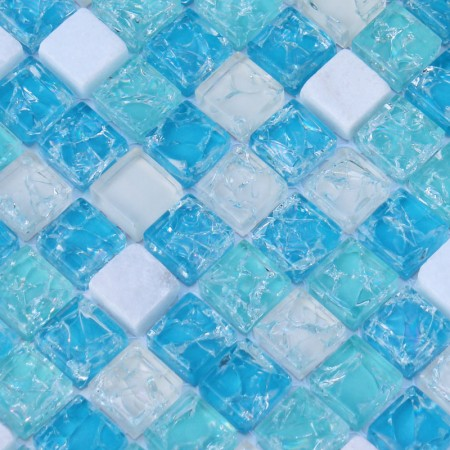 Stone Glass Mosaic Tiles Blue Ice Crack Crystal Backsplash Tile Cream Marble Mosaics Blue Glass Tiles SDY001